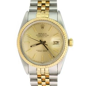 Rolex Mens Datejust 16013 Gold and Steel Champagne